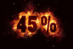 Burning 45 percent sign discount offer fire off stock illustration