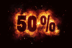 Burning 50 percent sign discount offer fire off. Illustration Stock Photography