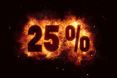 Burning 25 percent sign discount offer fire off Stock Images