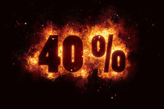 Burning 40 percent sign discount offer fire off. Illustration Royalty Free Stock Image