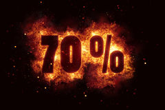 Burning 70 percent sign discount offer fire off Royalty Free Stock Photography
