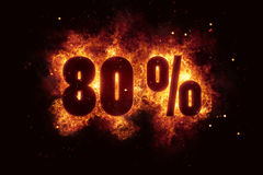 Burning 80 percent sign discount offer fire off Stock Photos