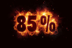 Burning 85 percent sign discount offer fire off Royalty Free Stock Photography