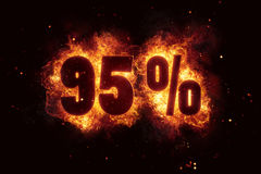 Burning 95 percent sign discount offer fire off. Illustration Royalty Free Illustration