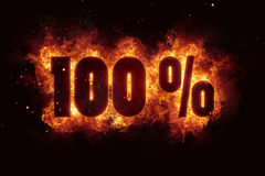 Burning 100 percent sign discount offer fire off. Illustration Stock Photography
