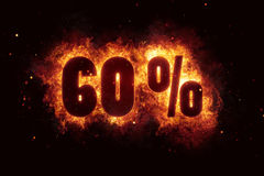 Burning 60 percent sign discount offer fire off Royalty Free Stock Images