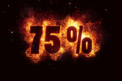 Burning 75 percent sign discount offer fire off Stock Photo