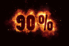 Burning 90 percent sign discount offer fire off Royalty Free Stock Photos