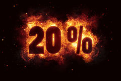 Burning 20 percent sign discount offer fire off Stock Images