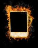 Burning photo frame Royalty Free Stock Photo