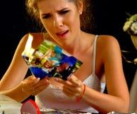 Burning photography wedding memories. Broken heart woman. Family break up. royalty free stock photos