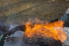 Burning the pig. East European traditional pig sacrifice for Christmas Royalty Free Stock Photo