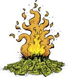 Burning Pile of Cash. A cartoon of a pile of cash money burning in a huge fire Stock Image
