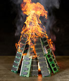 Burning pile of RAM Royalty Free Stock Photography