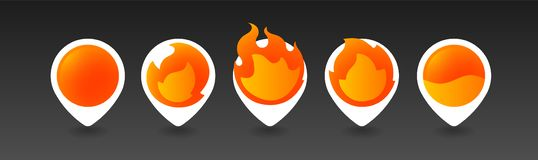 White Burning Pins. 5 variations. Isolated Vector Objects Royalty Free Stock Photo