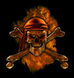 Burning Pirate Skull. A flaming scorching hot pirate skull - 3D render with digital painting Stock Photos