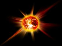 Burning planet. Aglow with burning rays of the planet on a black background Royalty Free Stock Images