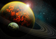 Burning planet royalty free stock images