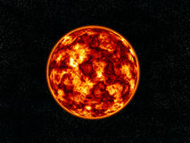 Burning planet. Burning planet on stars field Stock Photos