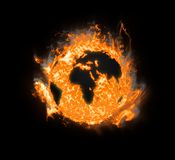 Burning planet earth Royalty Free Stock Image