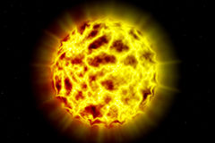 Burning Planet. And explosion in space Stock Photography
