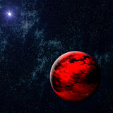 Red Burning Planet. Imaginary red burning planet in the deep universe Royalty Free Stock Photo