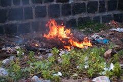 Burning plastic trash Stock Photos