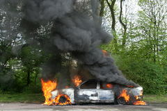 Burning Police Car Royalty Free Stock Photos