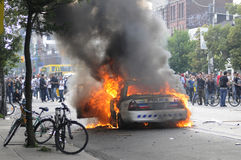 Burning police car. Royalty Free Stock Photos