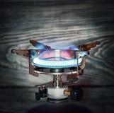 The burning portable gas burner Stock Photo