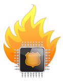 Burning Processor chip Stock Image