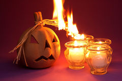Burning pumpkin Stock Image