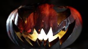 Burning pumpkin on Halloween. Looped stock video footage