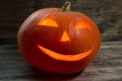 Burning pumpkin for Halloween Stock Images