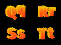 Burning of Q, R, S, T, letters. Burning the letters Q, R, S, T, on a black background Stock Image