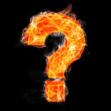 The burning question mark isolated on black Stock Images