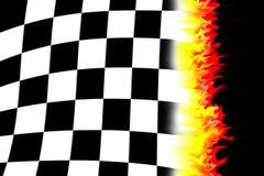 Burning racing flag. Illustration of the burning checkered racing  flag Royalty Free Stock Images