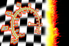 Burning racing flag and speedometer. Illustration of the burning checkered racing  flag Stock Image