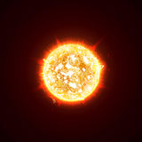 Burning Realistic 3D Sun, Flashes, Glare, Flare, Sparks, Flames, Heat And Fire Rays. Orange, Hot, Cosmic Red Planet On A Stock Photo