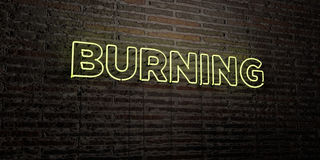 BURNING -Realistic Neon Sign on Brick Wall background - 3D rendered royalty free stock image Royalty Free Stock Photos