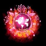 Burning Recycle world Stock Photo