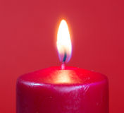 Burning Red Candle Royalty Free Stock Photography