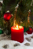 Burning red Candle during the holidays Stock Image