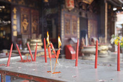 Burning Red Candles at Chinese Temple Royalty Free Stock Photos