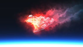 Burning red fire meteorite falling to planet. 3D render of burning red fire meteorite falling to planet Stock Photo