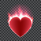 Burning red heart concept. Burning red heart isolated on transparent background. Heart shape surrounded with transparent fire and red glow. Vector illustration Stock Photo
