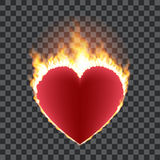 Burning red heart concept. Burning red heart isolated on transparent background. Heart shape surrounded with transparent fire and orange glow. Vector Stock Photo