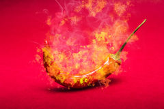 Burning red hot chili pepper. Mexican food stock image