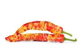 Burning red hot chili peppers Royalty Free Stock Images