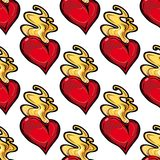 Burning red hot heart seamless pattern Royalty Free Stock Photos